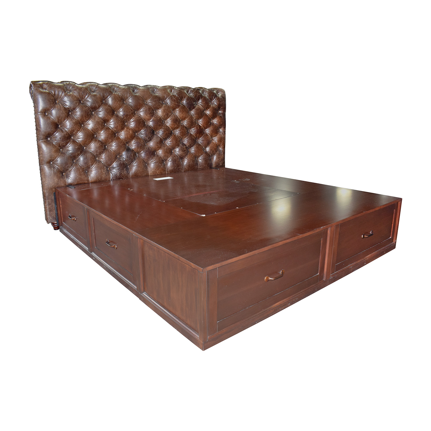 buy Pottery Barn Stratton Brown Platform King Bed Frame with Storage and Tufted Leather Headboard Pottery Barn
