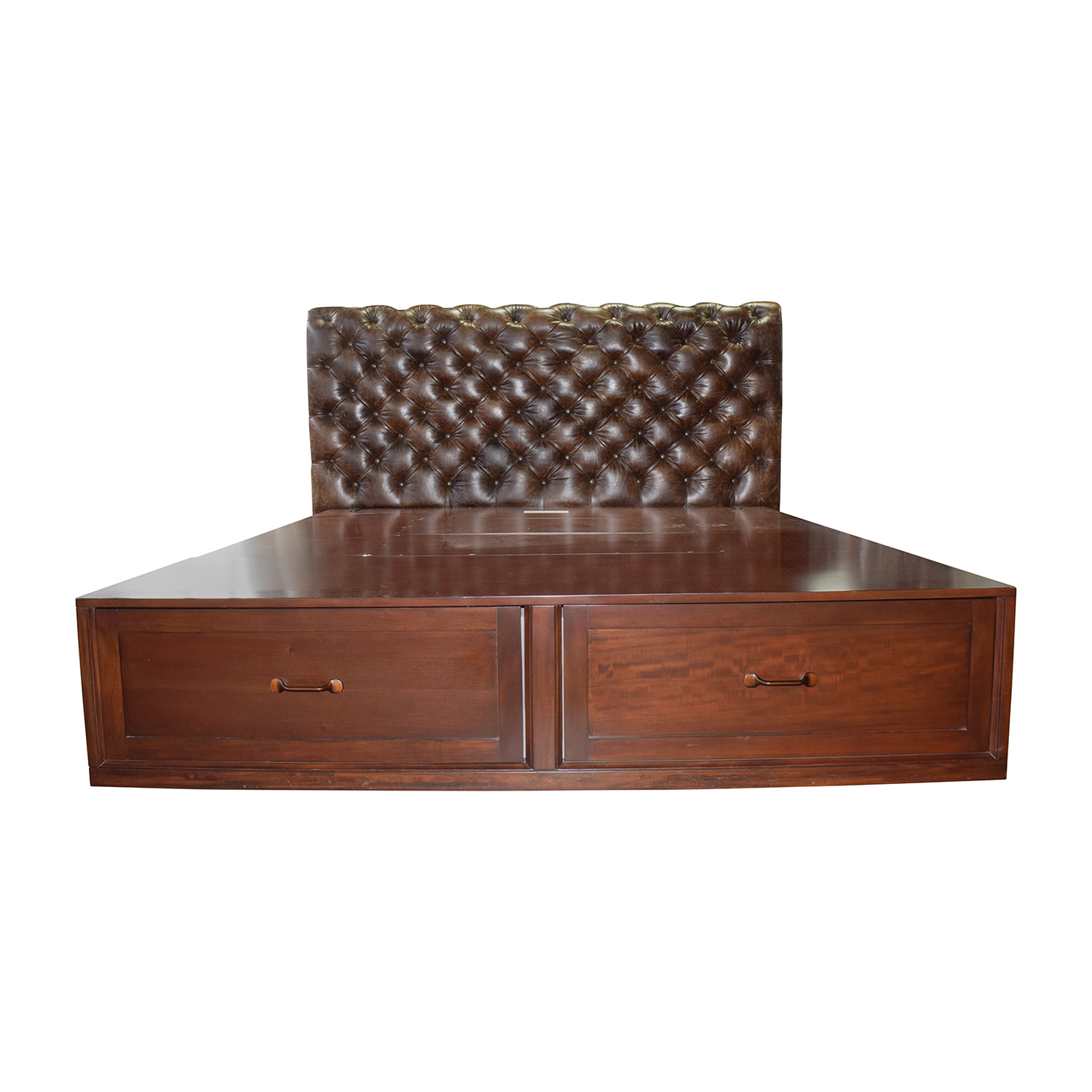 Pottery Barn Stratton Brown Platform King Bed Frame With Storage And Tufted Leather Headboard