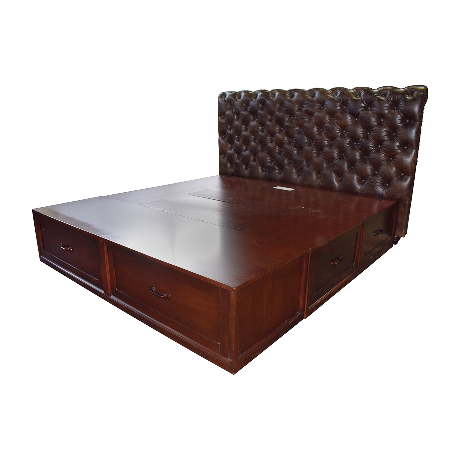 Pottery Barn Pottery Barn Stratton Brown Platform King Bed Frame with Storage and Tufted Leather Headboard dimensions