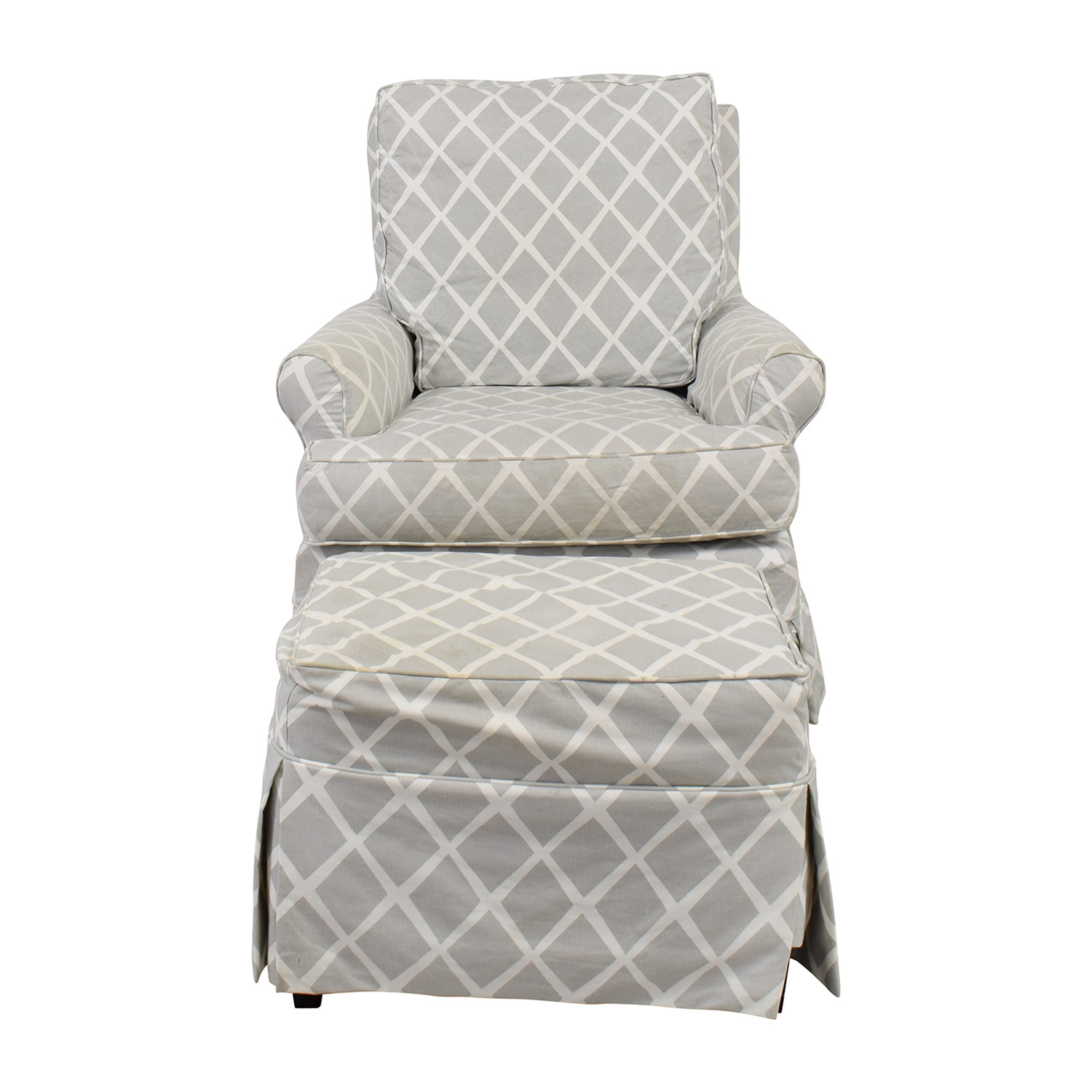 Serena and Lily Serena and Lily Grey and White Glider and Ottoman nj