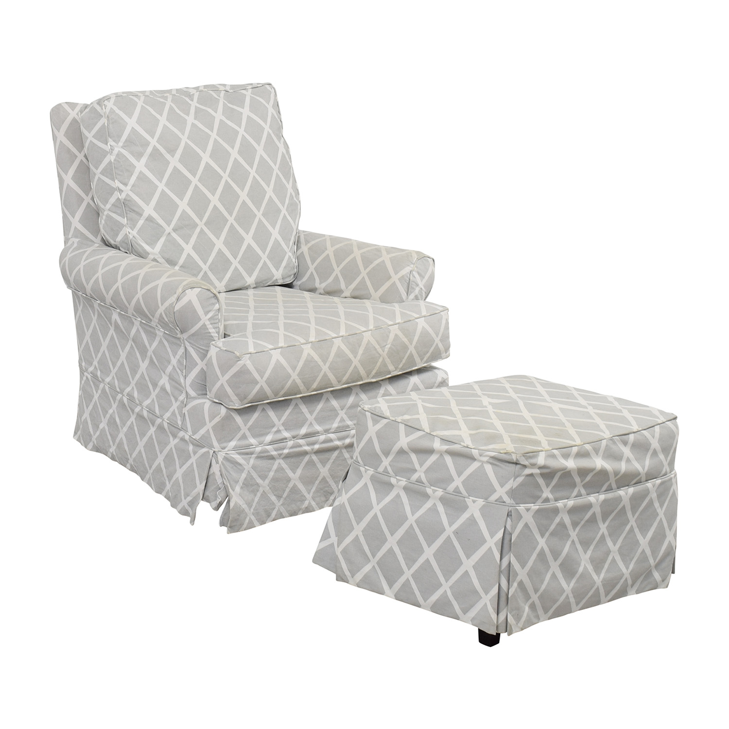 ... Shop Serena And Lily Grey And White Glider And Ottoman Serena And Lily  Accent Chairs ...