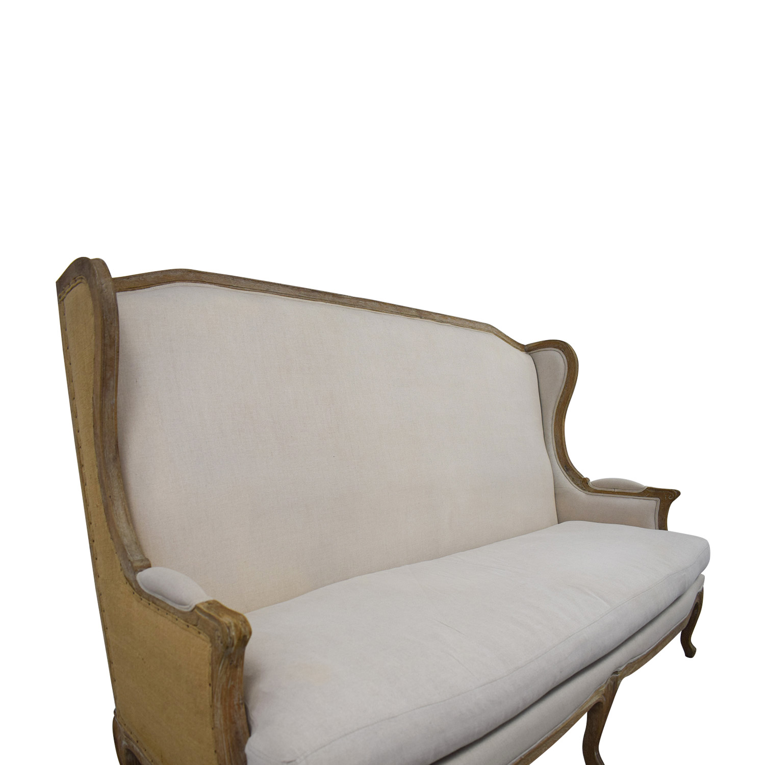 ABC Carpet & Home ABC Carpet & Home Beige Wingback Settee for sale