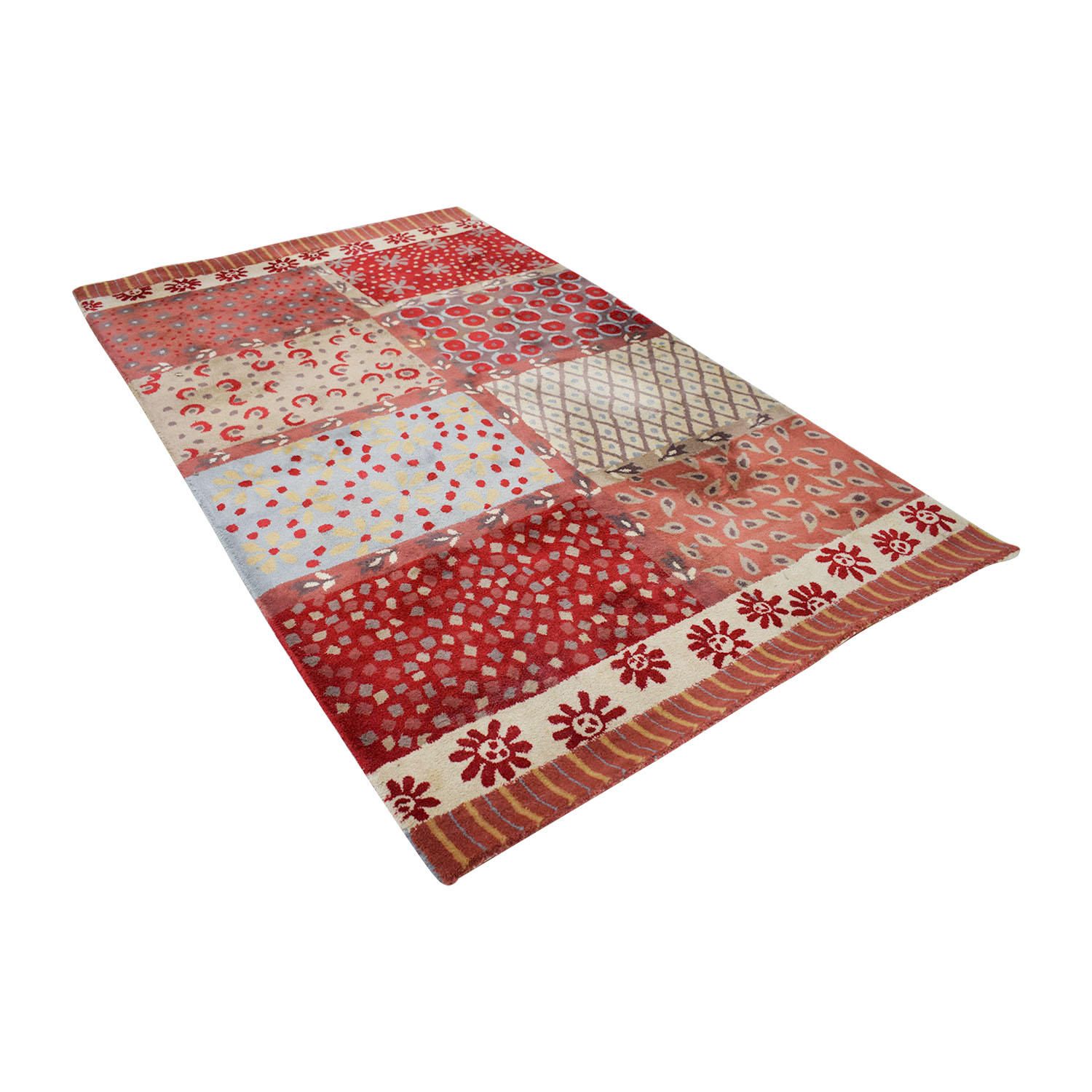 shop Pottery Barn Red Multi-Colored Rug Pottery Barn