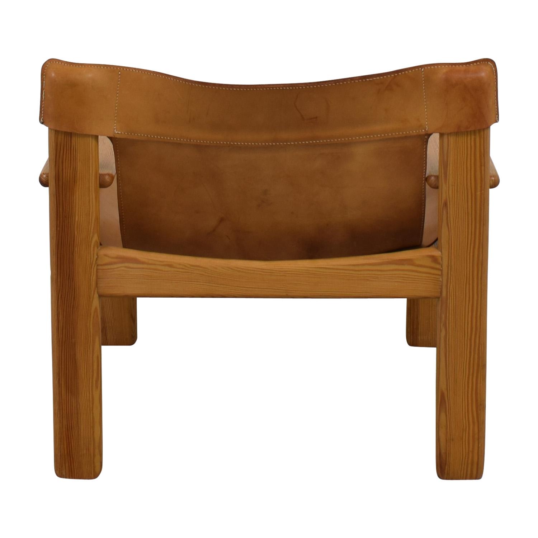 Vintage Cognac Leather Side Chair nj
