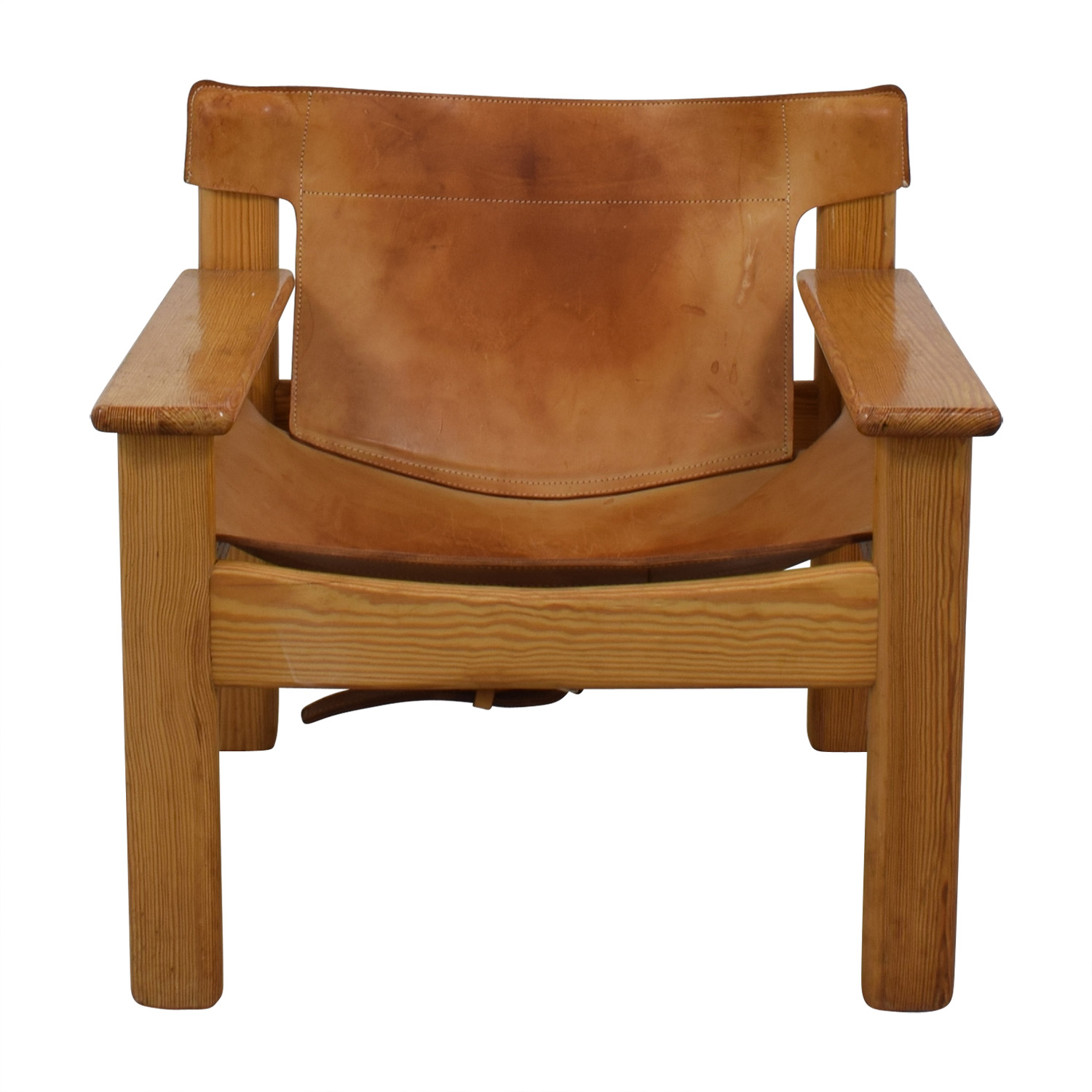 Vintage Cognac Leather Side Chair Beige