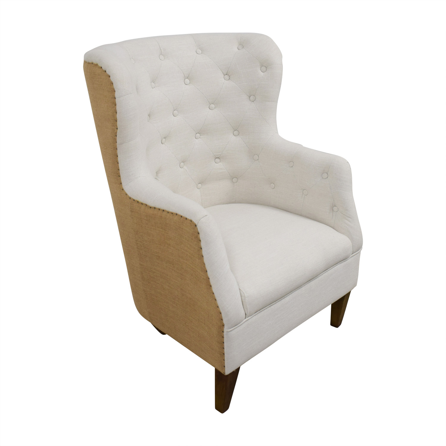 buy Classic Concepts White Tufted and Tan Back Wing Back Accent Chair Classic Concepts Chairs