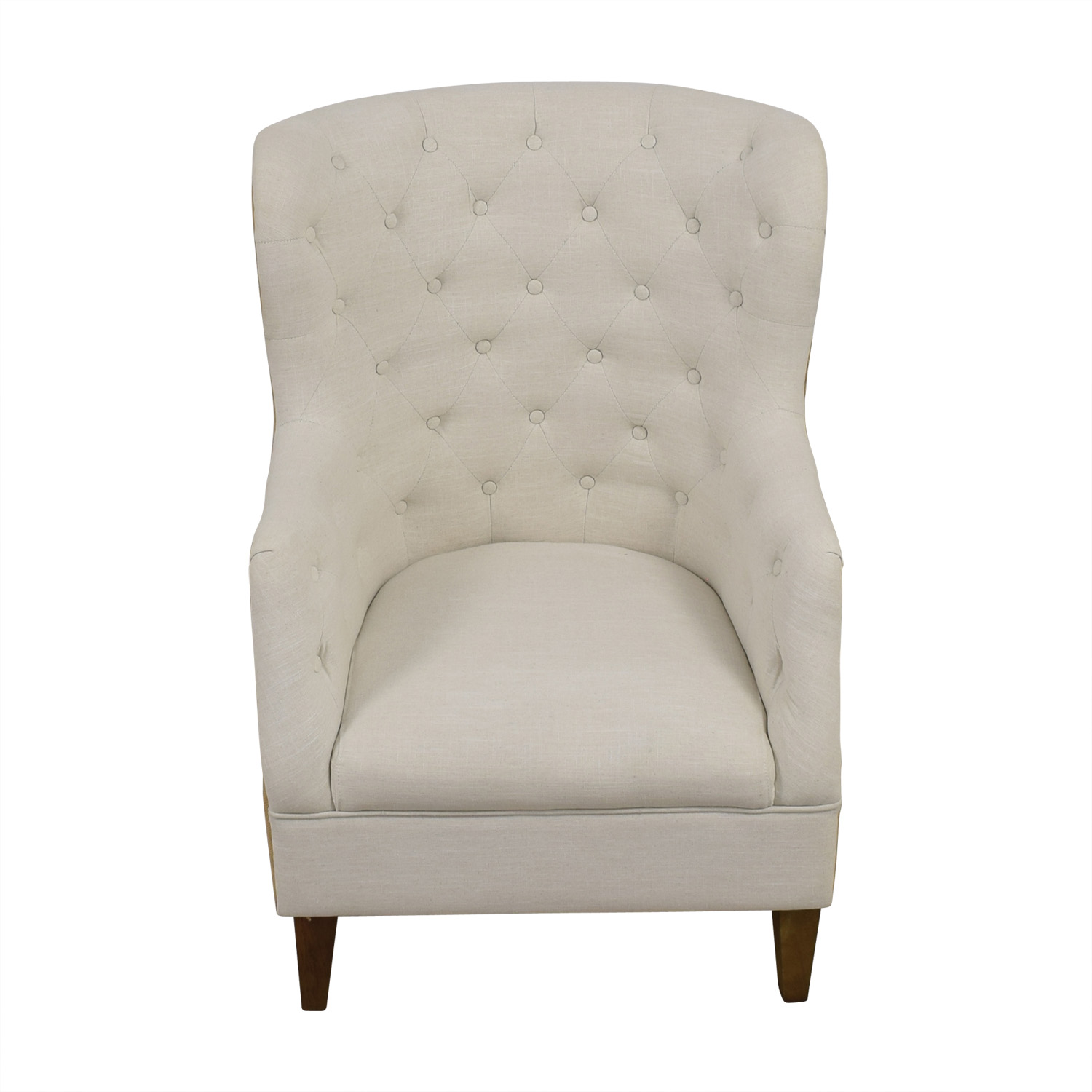 Classic Concepts Classic Concepts White Tufted and Tan Back Wing Back Accent Chair discount