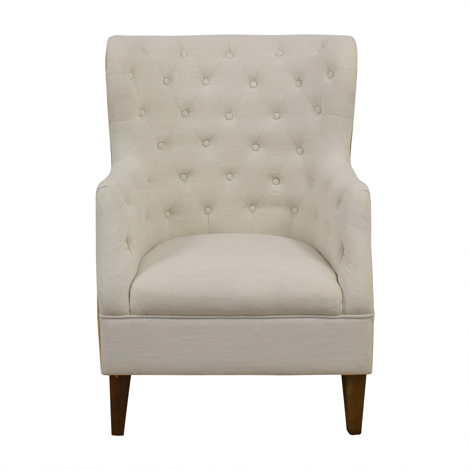 Classic Concepts Classic Concepts White Tufted and Tan Back Wing Back Accent Chair on sale
