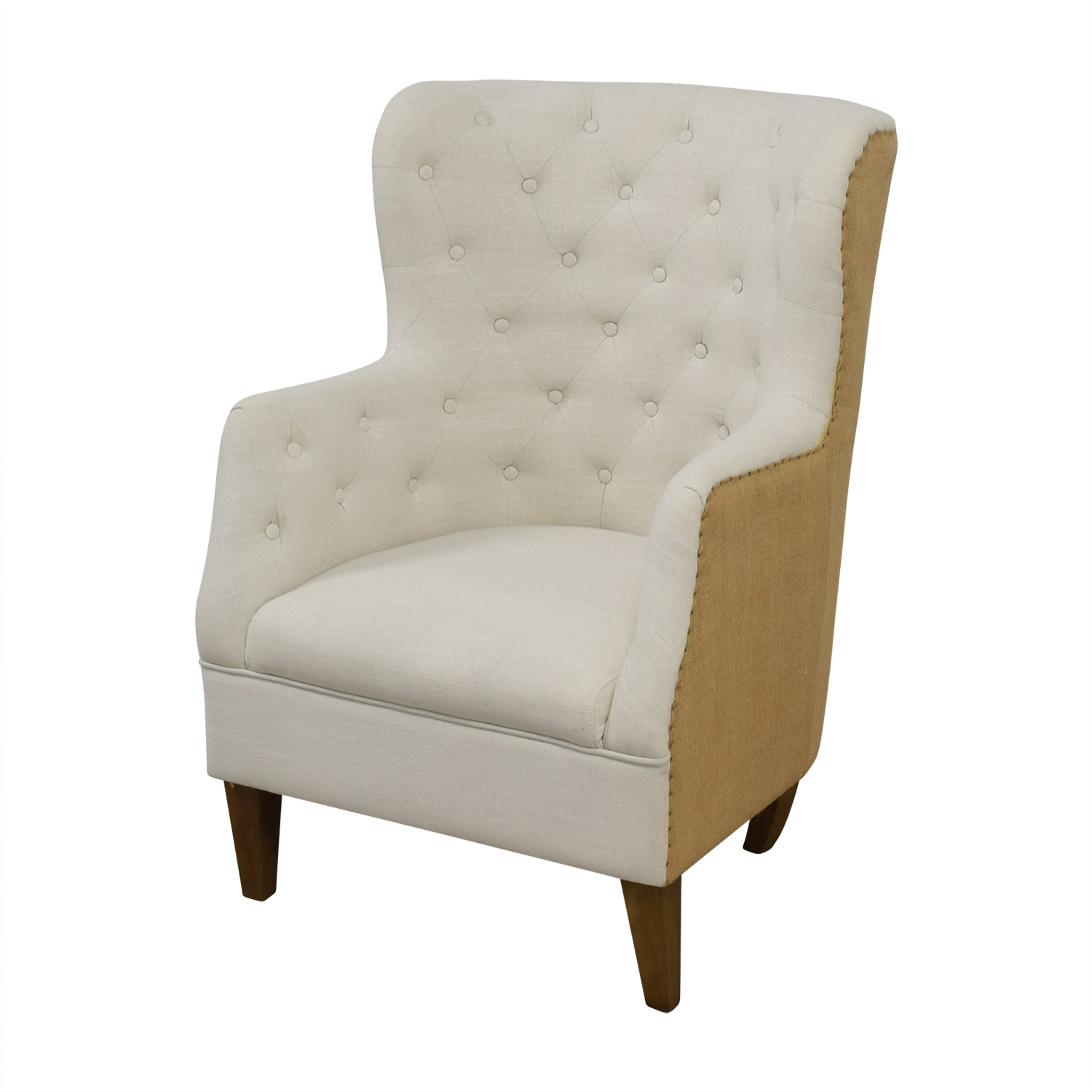Classic Concepts White Tufted and Tan Back Wing Back Accent Chair Classic Concepts