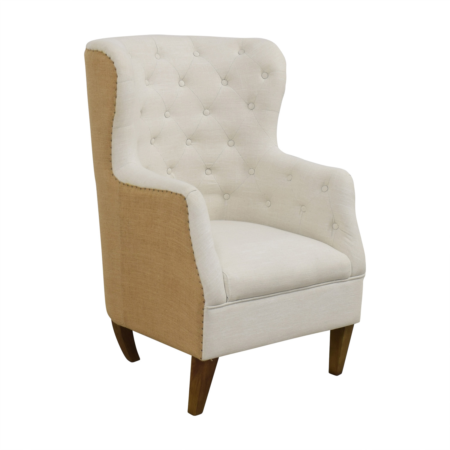 shop Classic Concepts White Tufted and Tan Back Wing Back Accent Chair Classic Concepts Chairs