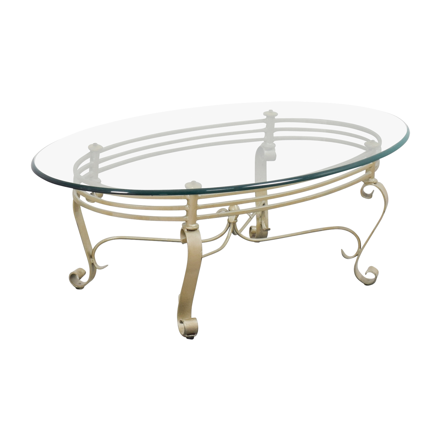 Oval Glass And Brass Coffee Table / Tables