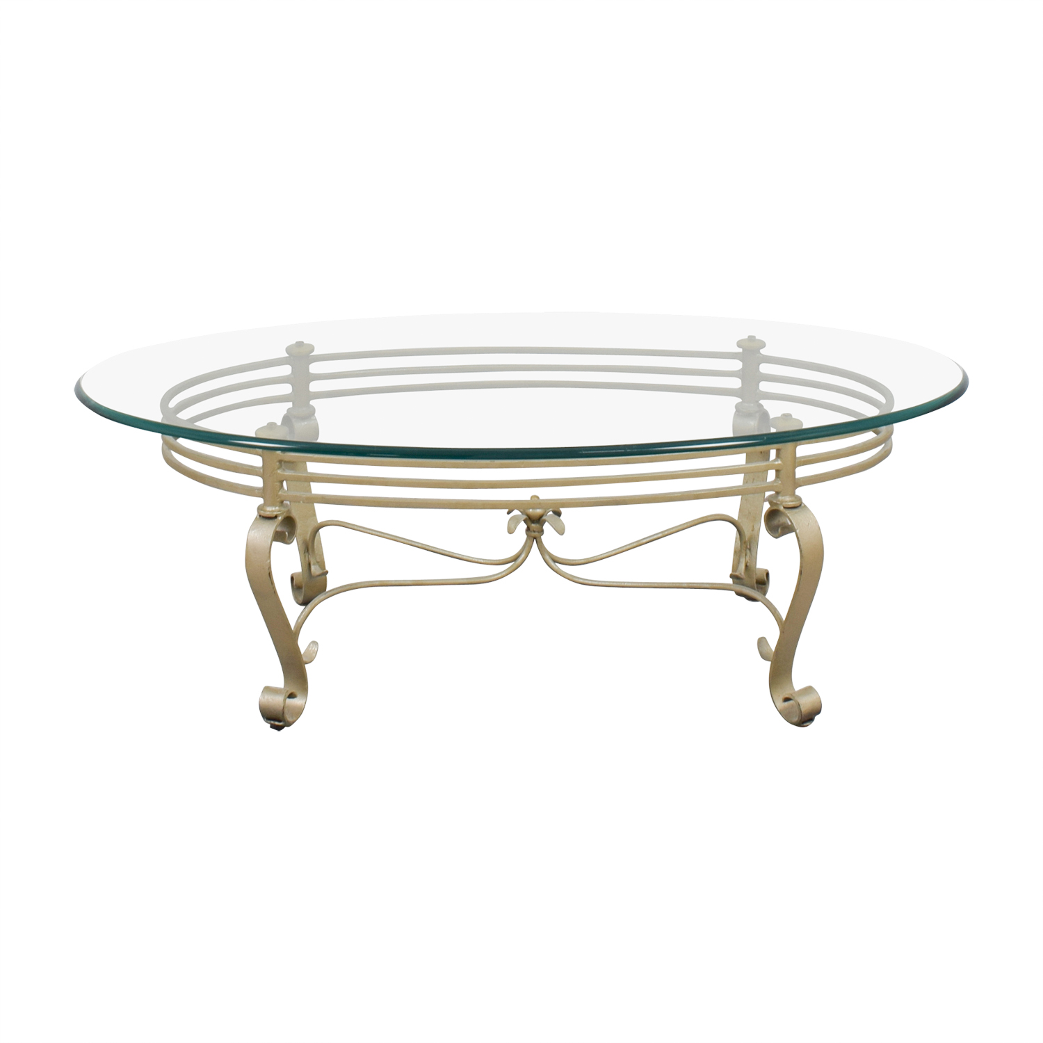 48 Off Oval Glass And Brass Coffee Table Tables