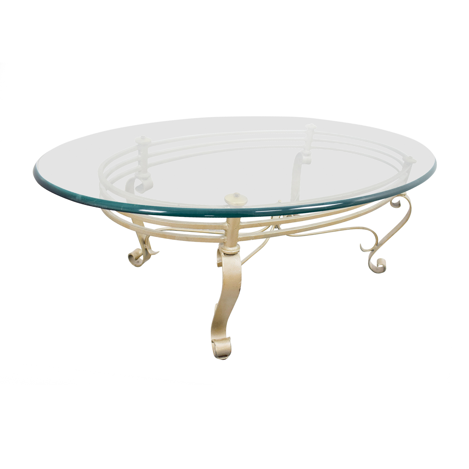 Oval Glass And Brass Coffee Table Coffee Tables