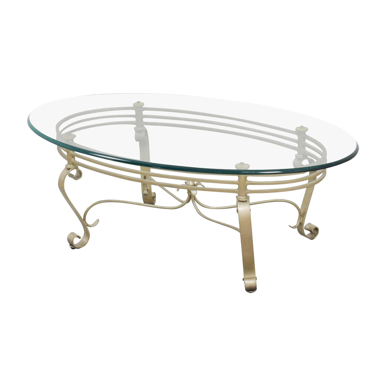 Shop Oval Glass And Brass Coffee Table Tables