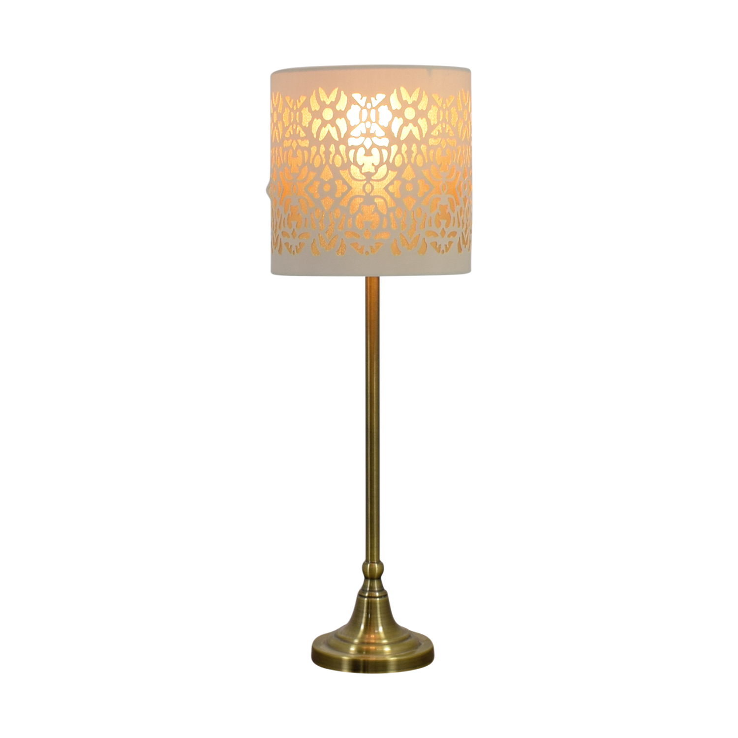 Cut Out White and Gold Table Lamp used