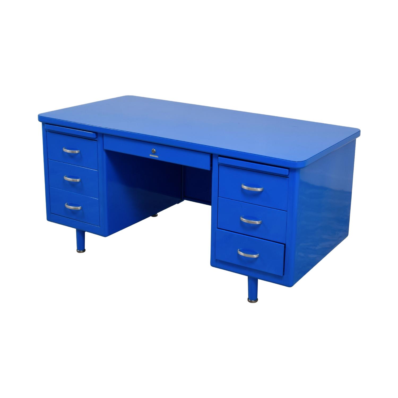 Steelcase Steelcase Refinished Vintage Blue Tanker Desk coupon