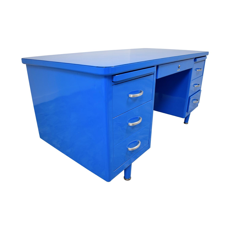Steelcase Steelcase Refinished Vintage Blue Tanker Desk Blue