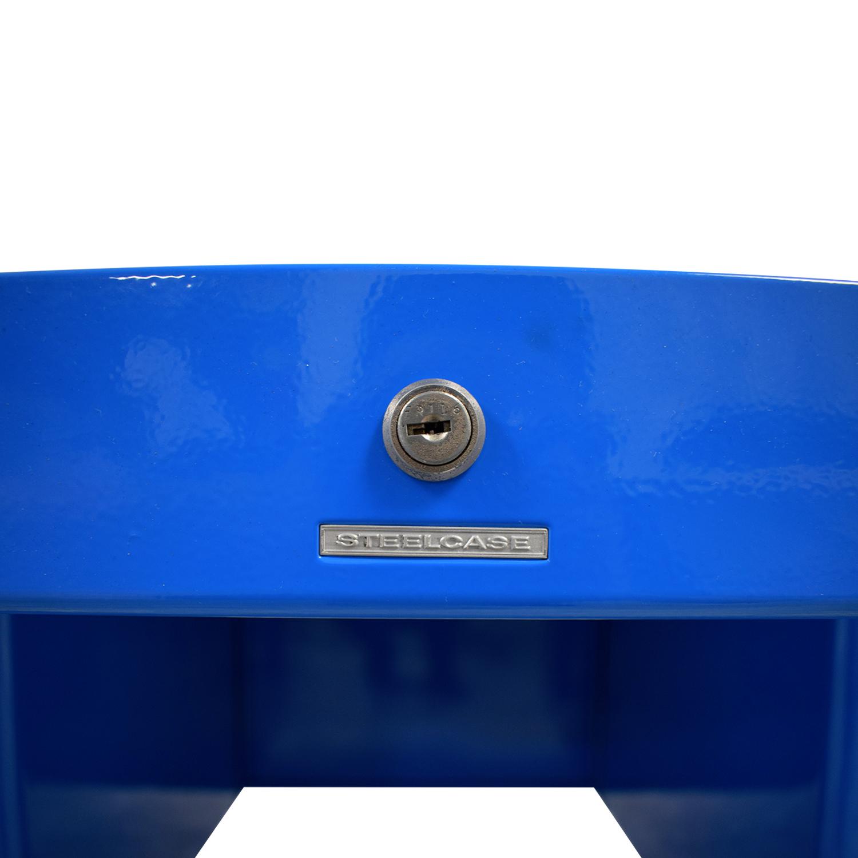 buy Steelcase Refinished Vintage Blue Tanker Desk Steelcase
