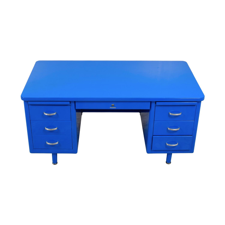 Steelcase Steelcase Refinished Vintage Blue Tanker Desk dimensions