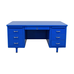 shop Steelcase Refinished Vintage Blue Tanker Desk Steelcase