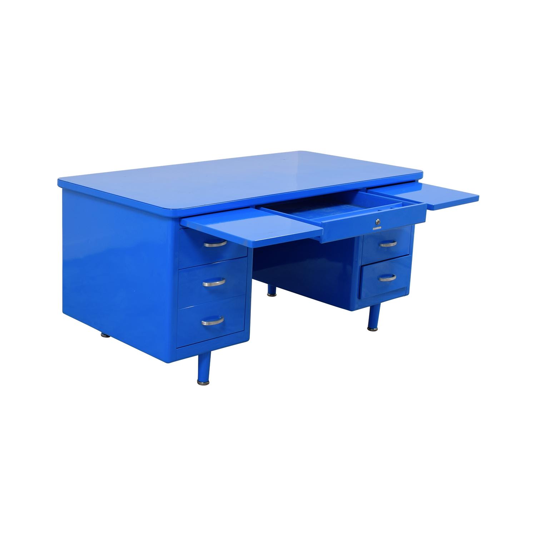 Steelcase Steelcase Refinished Vintage Blue Tanker Desk for sale