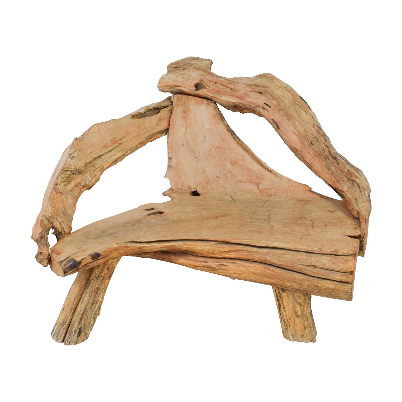 Swedish Natural Raw Driftwood Bench Wood
