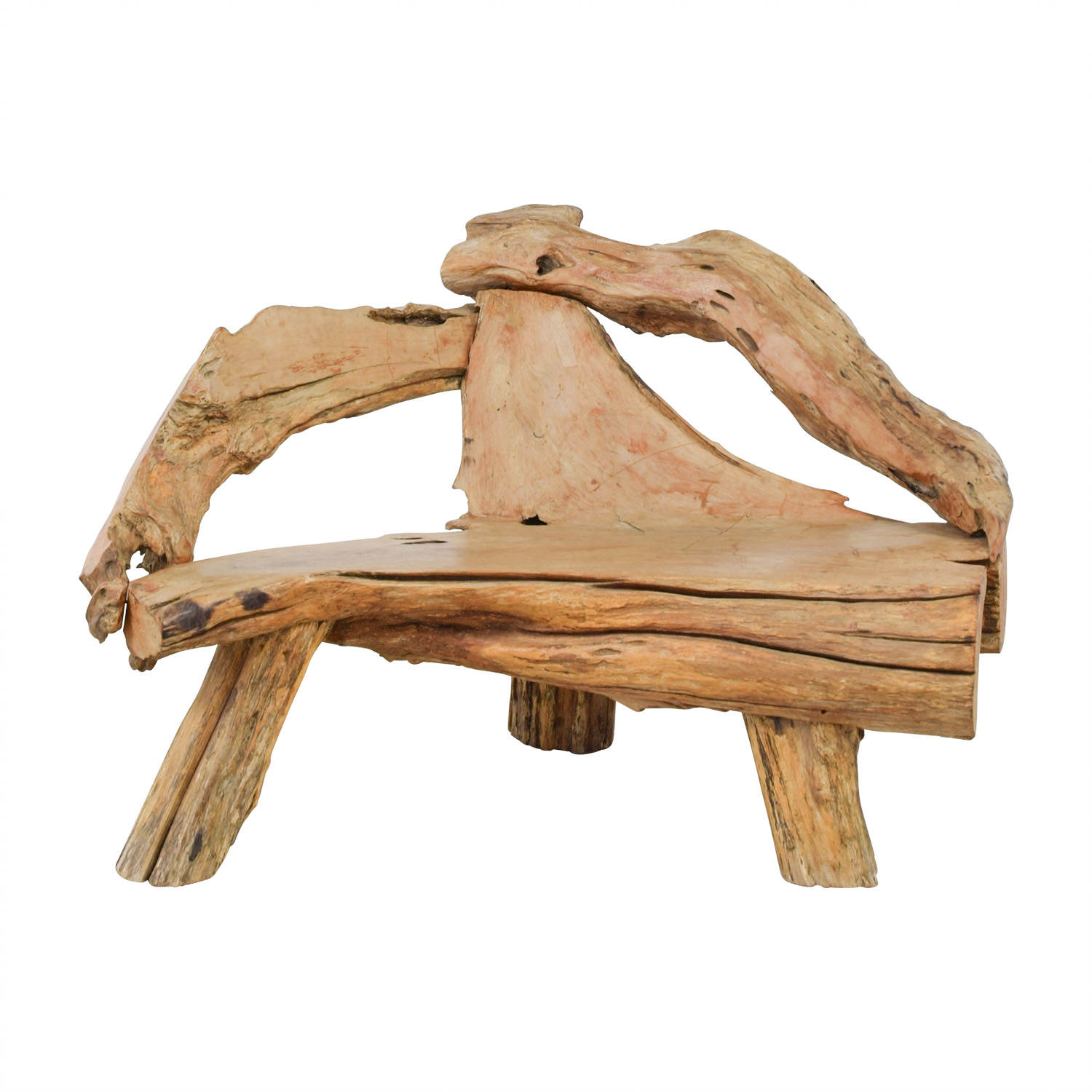 Swedish Natural Raw Driftwood Bench nyc