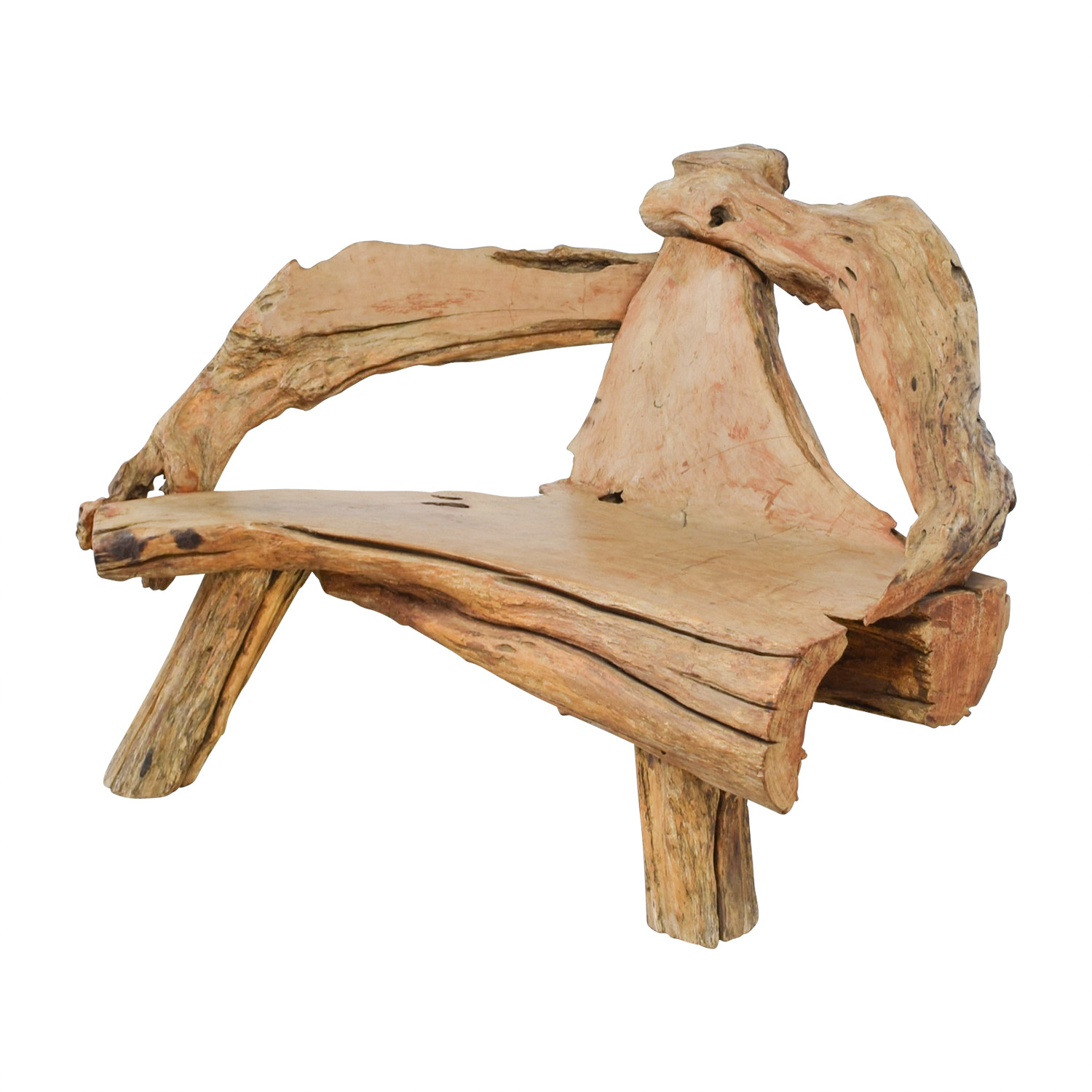 buy Swedish Natural Raw Driftwood Bench  Chairs