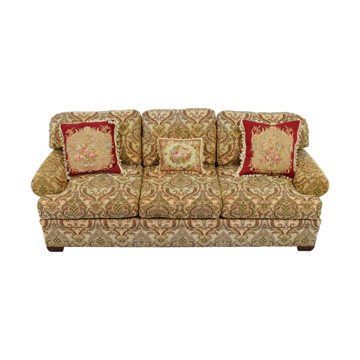 Kravet Kravet Custom Chenille Paisley Three-Cushion Sofa dimensions