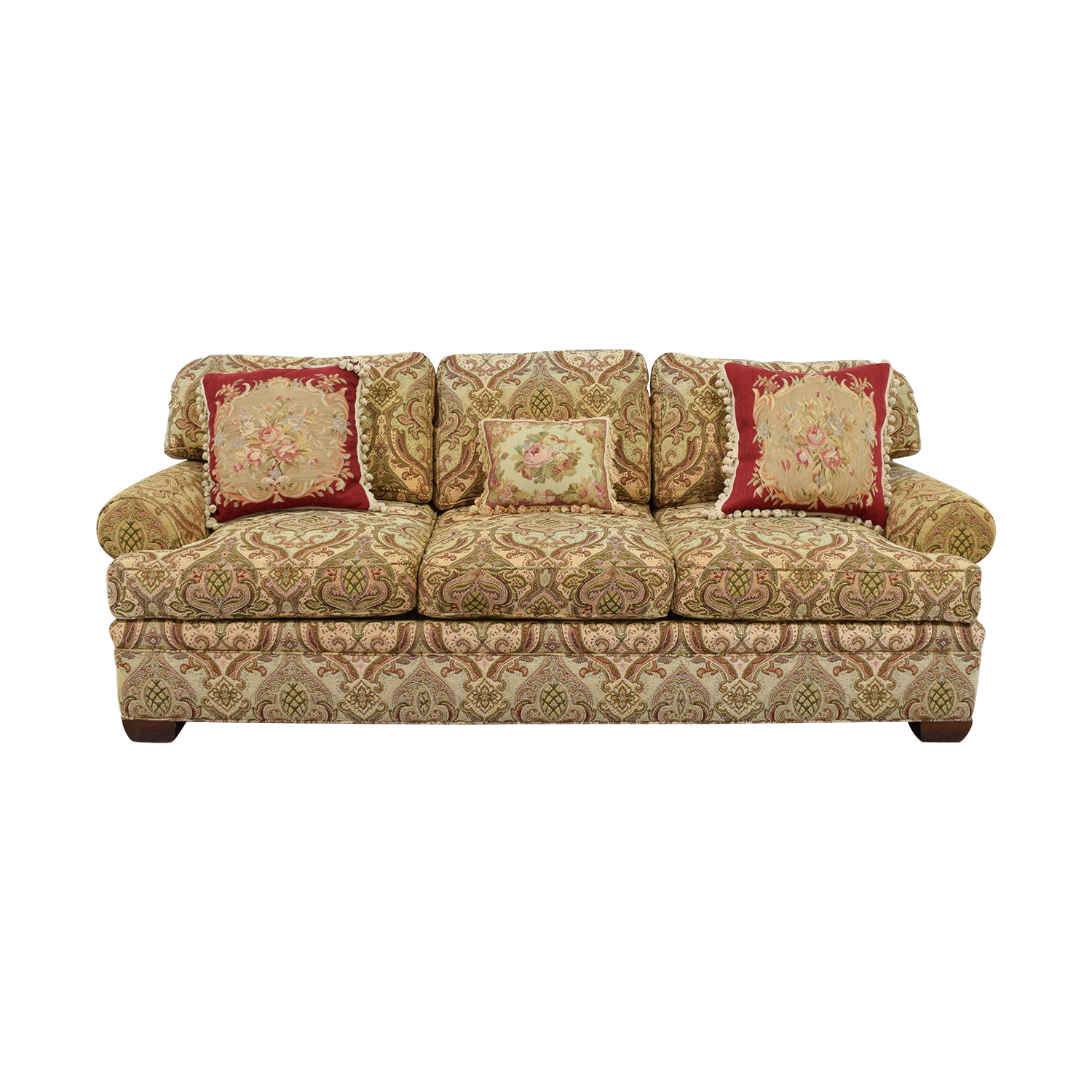 shop Kravet Custom Chenille Paisley Three-Cushion Sofa Kravet Sofas