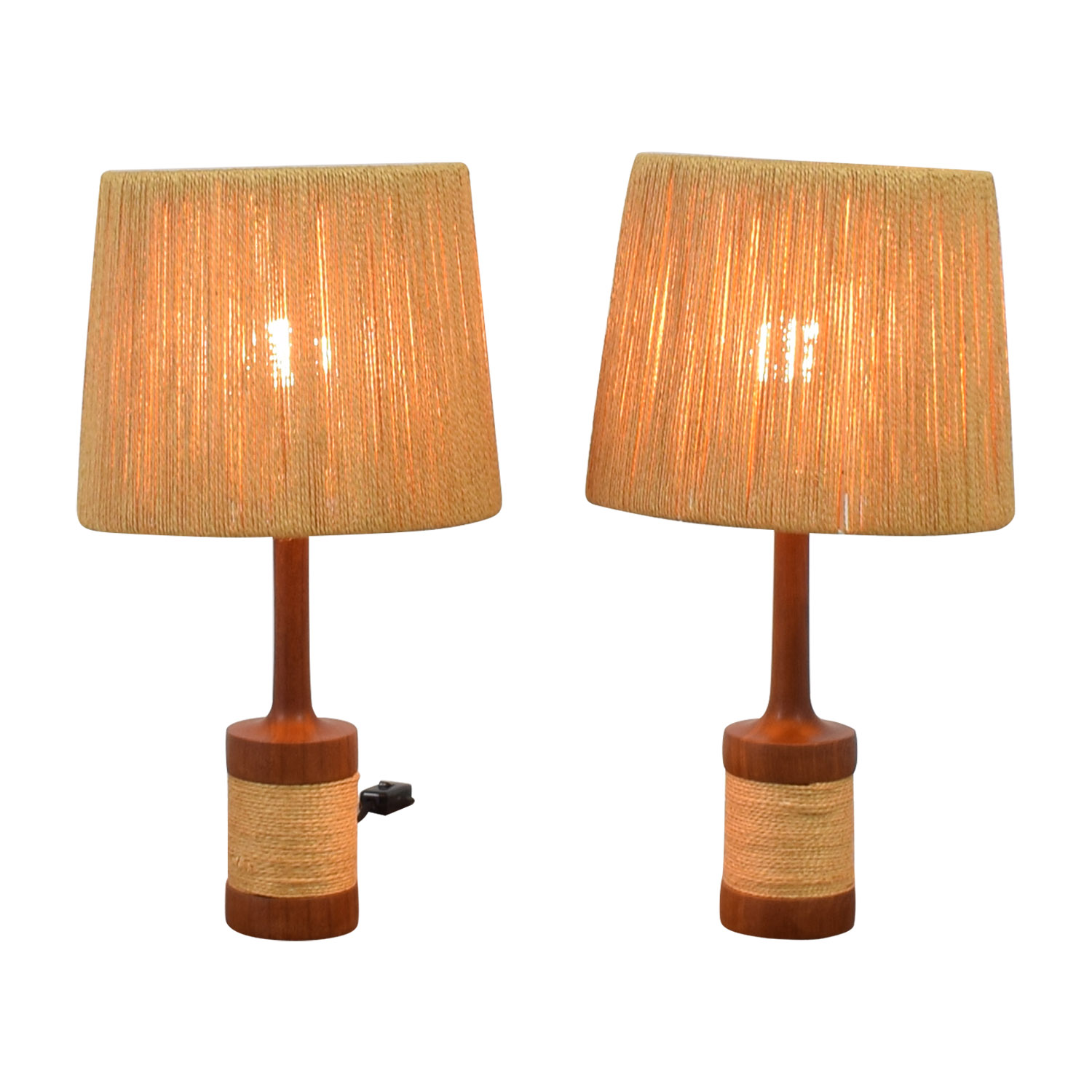 Sisal and Wood Table Lamps nj