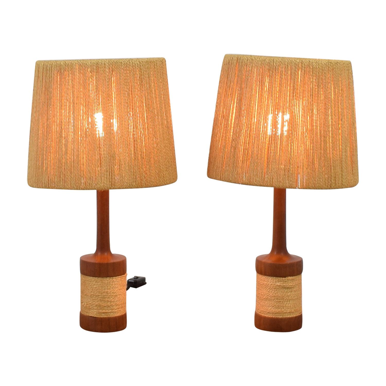 Sisal and Wood Table Lamps / Decor