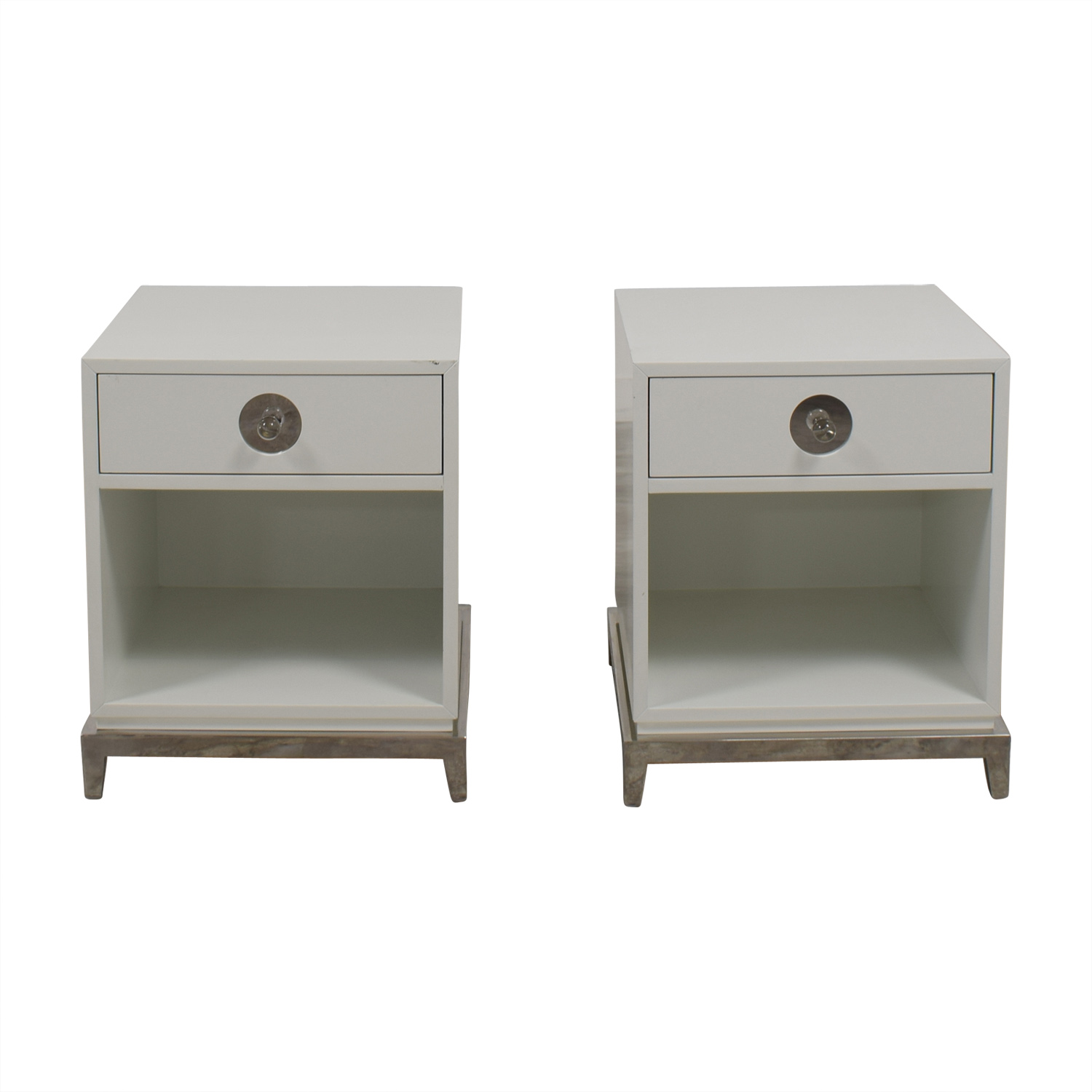 Jonathan Adler Jonathan Adler White Single-Drawer Side Tables for sale
