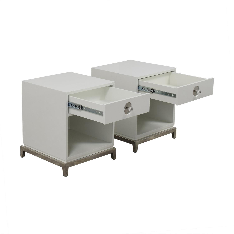 Jonathan Adler Jonathan Adler White Single-Drawer Side Tables on sale