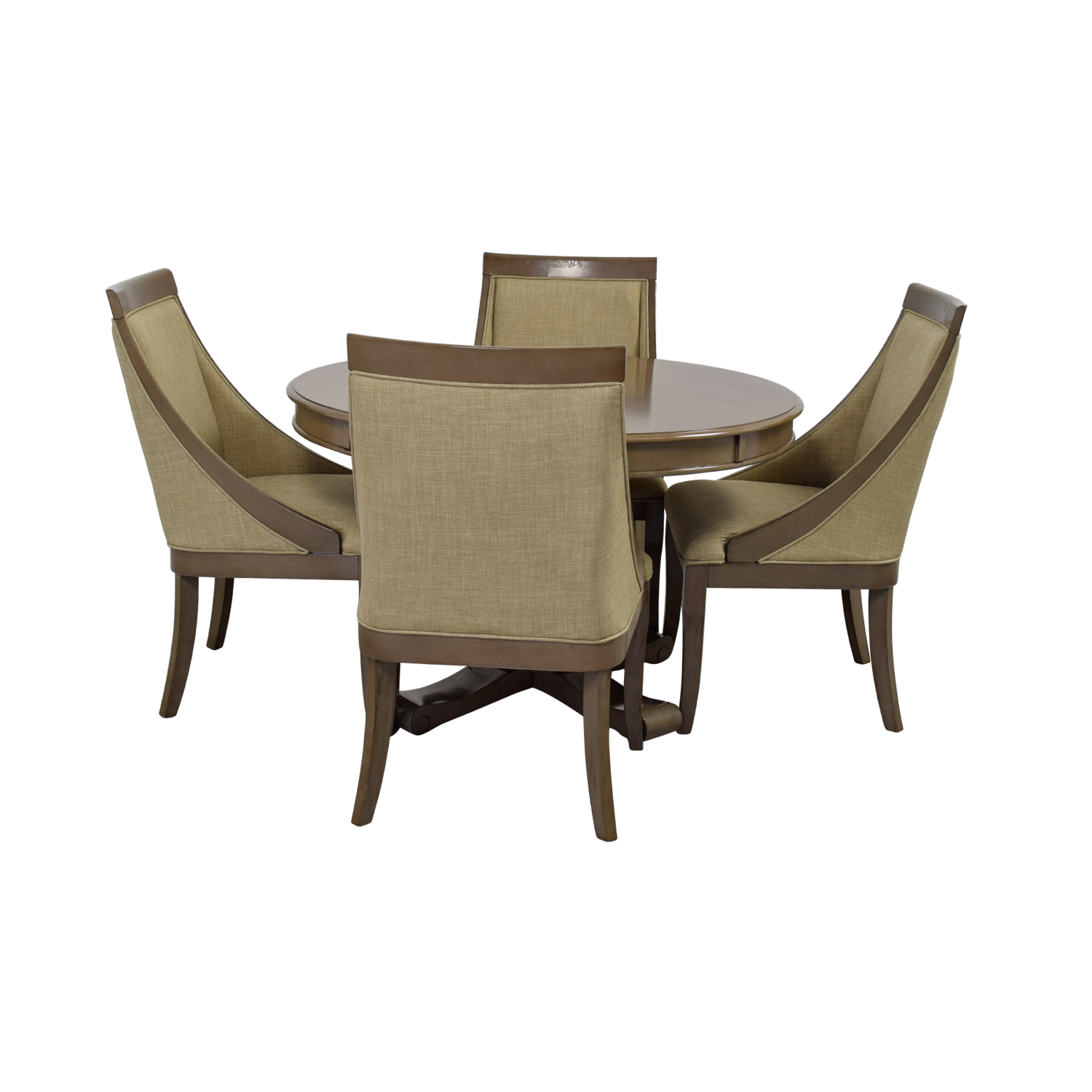 buy Bob's Furniture Gatsby Round Dining Set with Swoop Chairs Bob's Furniture Tables