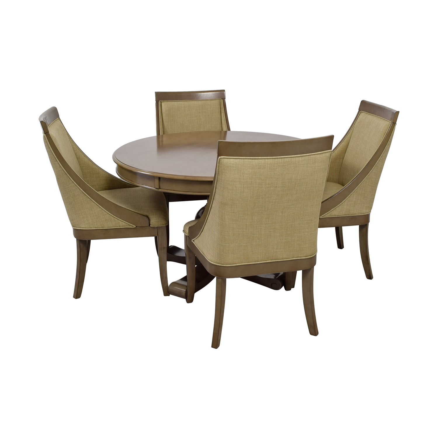 Bob's Furniture Bob's Furniture Gatsby Round Dining Set with Swoop Chairs for sale