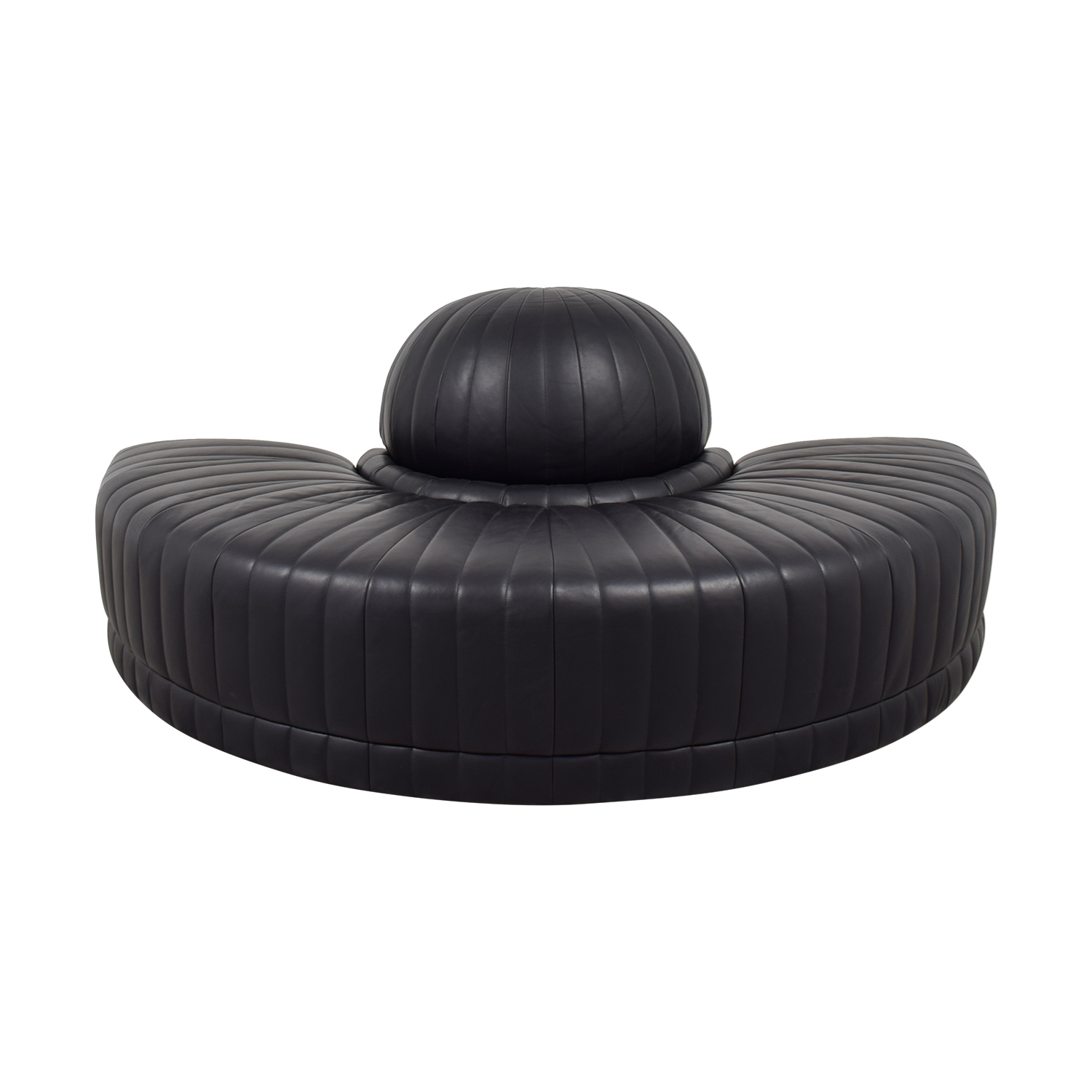 Roche Bobois Roche Bobois Black Leather Half Moon Couch Sofas