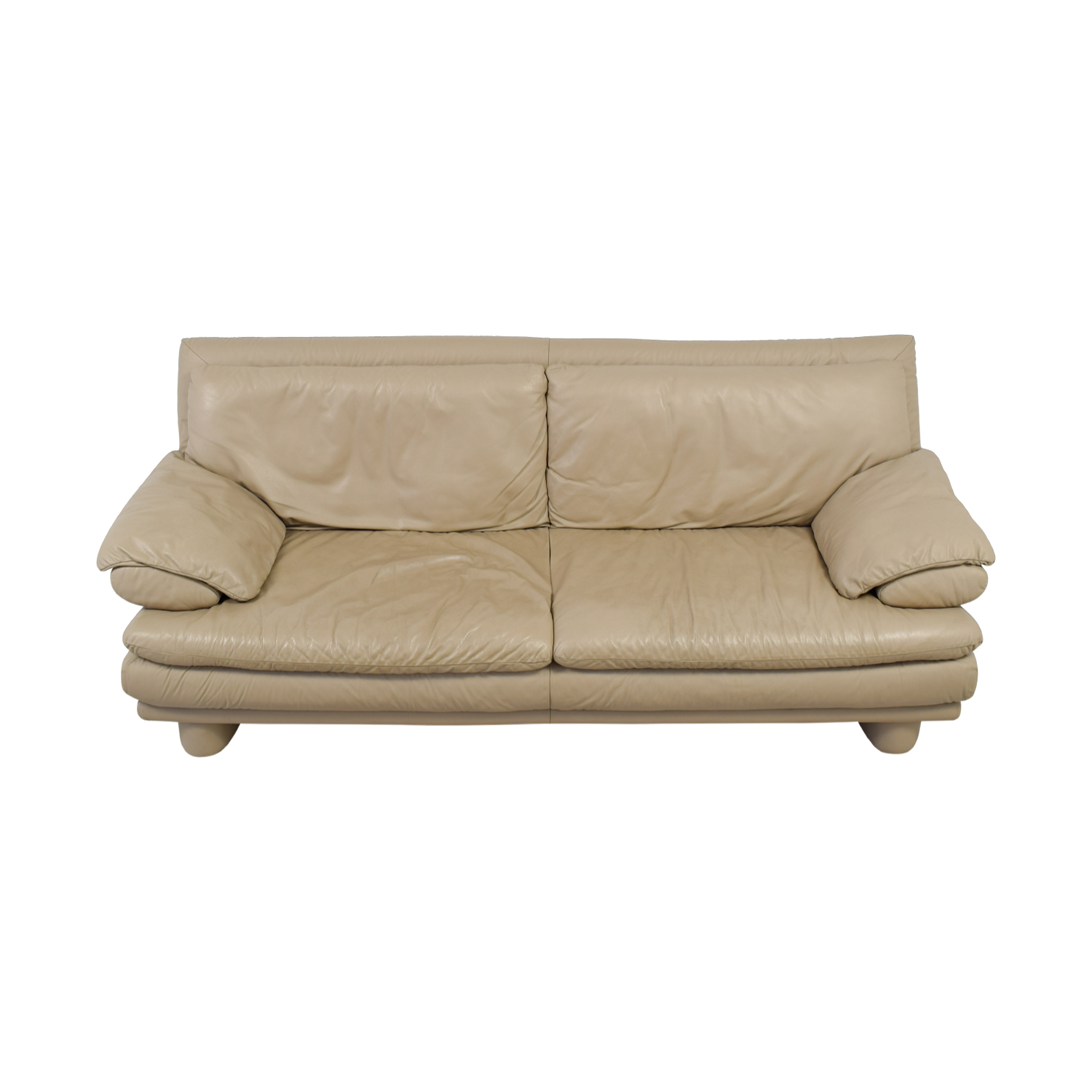 buy Maurice Villency Maurice Villency Two-Cushion Tan Leather Couch online