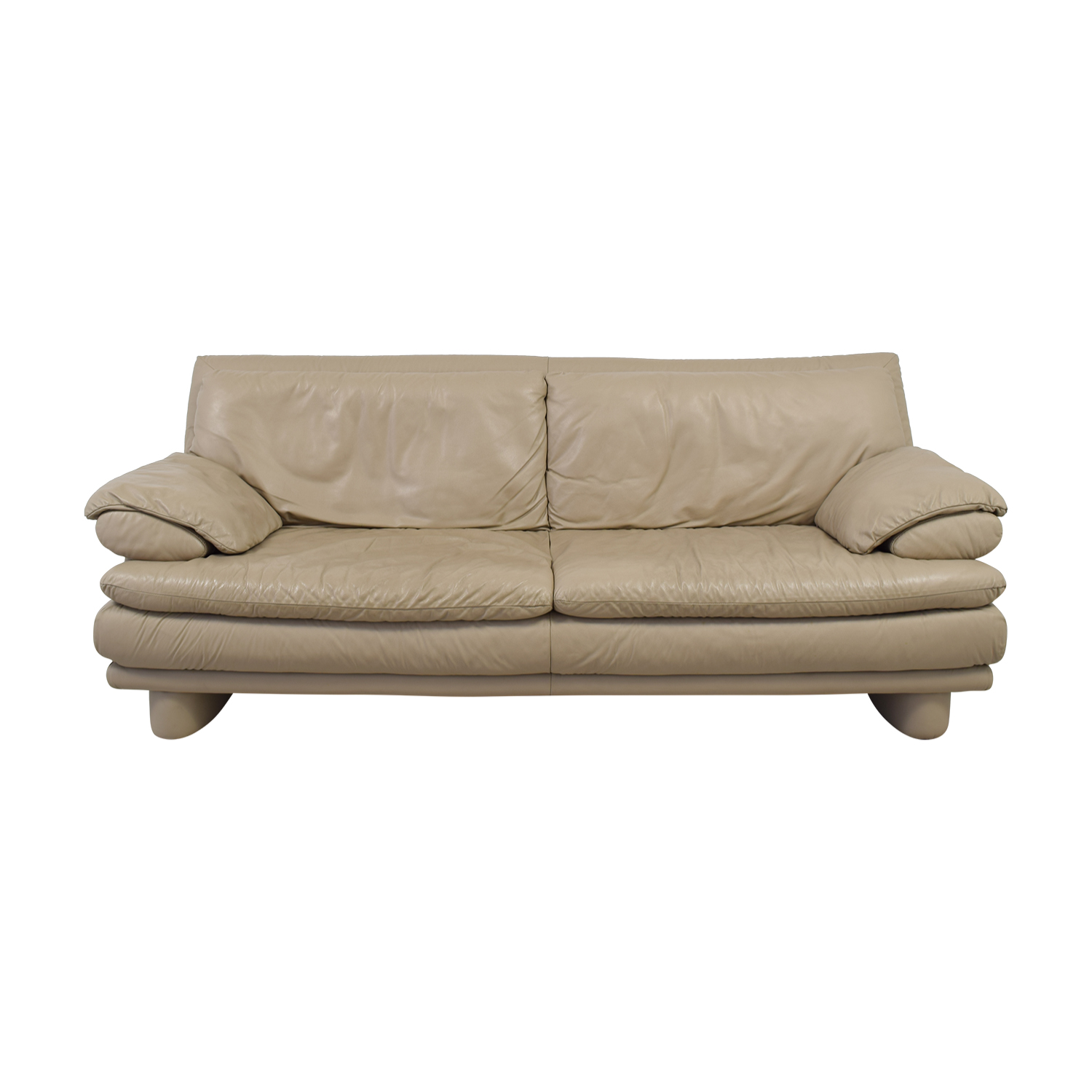 Maurice Villency Maurice Villency Two-Cushion Tan Leather Couch dimensions
