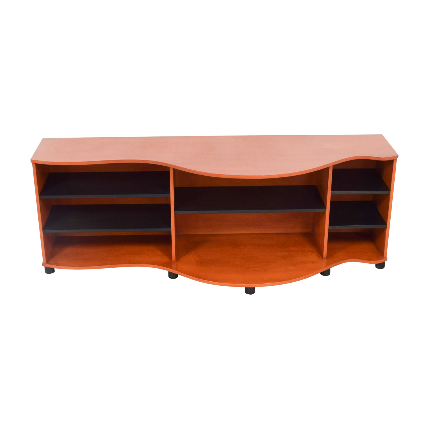 Brown and Black Sideboard with Shelves Storage