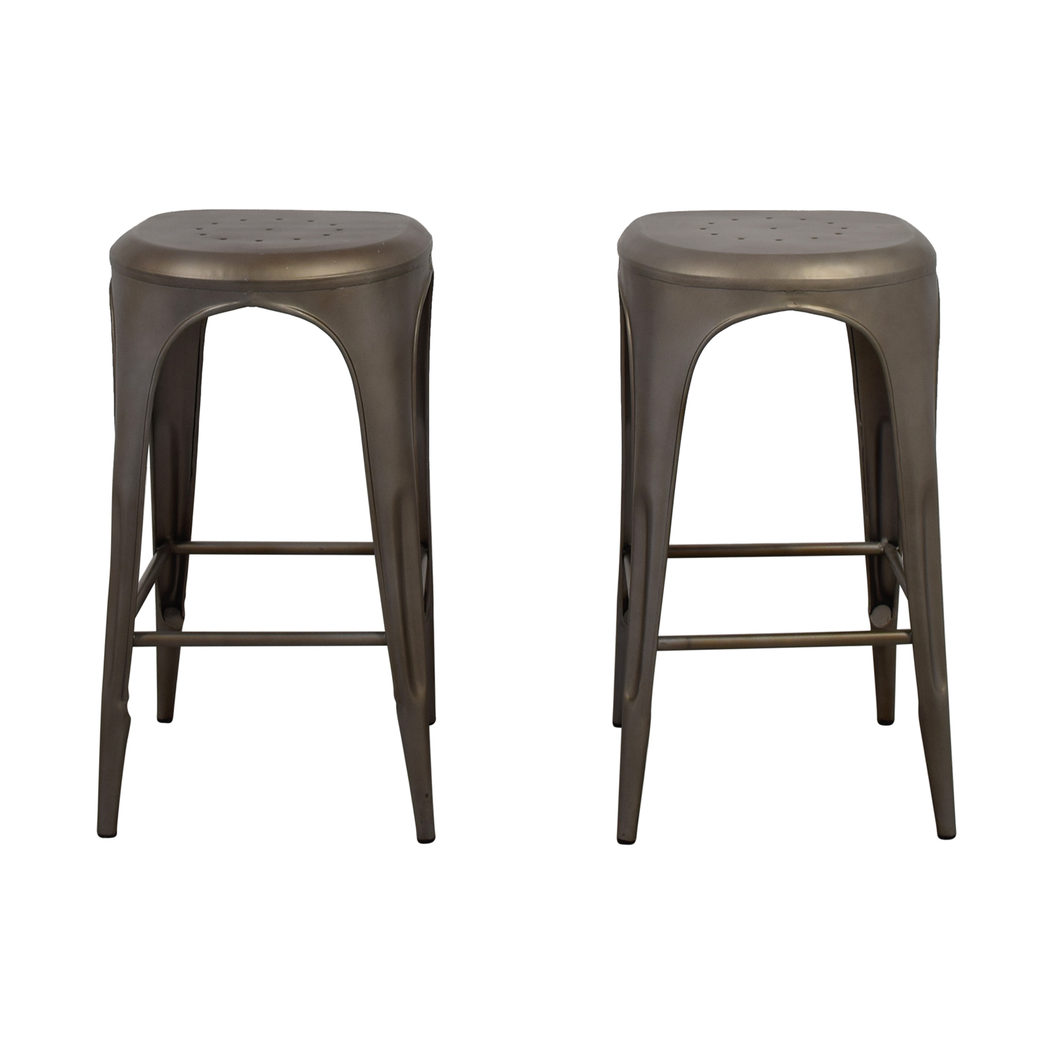 Restoration Hardware Remy backless stool (gunmetal gray) Restoration Hardware Remy Backless Barstools Brown silver