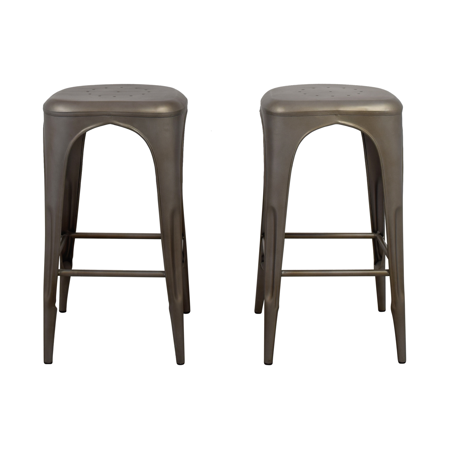 Restoration Hardware Remy backless stool (gunmetal gray) Restoration Hardware Remy Backless Barstools second hand