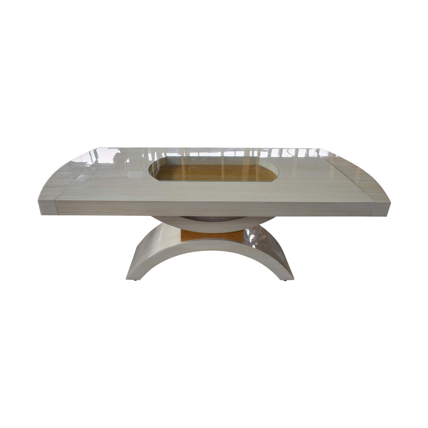 Glassworks Glassworks Beige with Glass Center Dining Table and Arched Pedestal dimensions