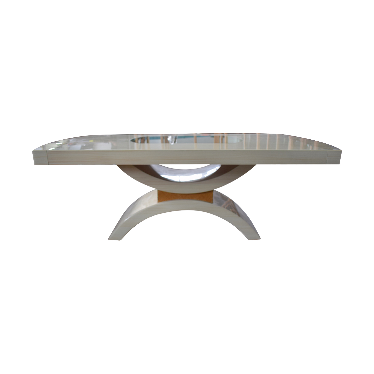 Glassworks Glassworks Beige with Glass Center Dining Table and Arched Pedestal Dinner Tables