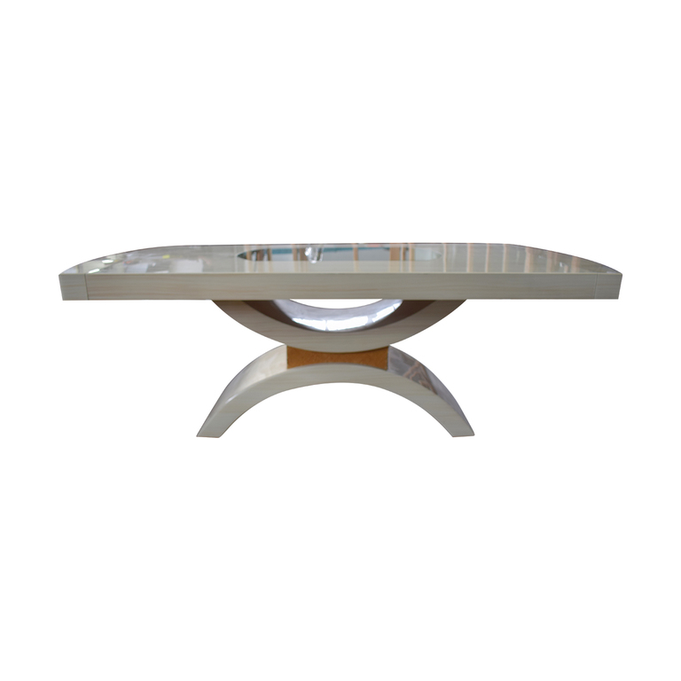 Glassworks Glassworks Beige with Glass Center Dining Table and Arched Pedestal for sale