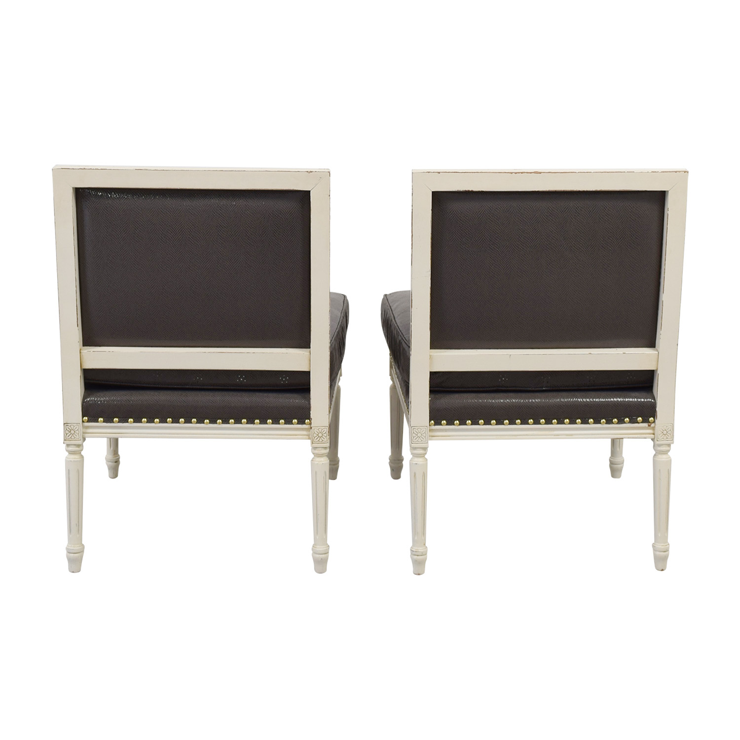 White and Grey Embossed Snakeskin Nailhead  Accent Chairs coupon