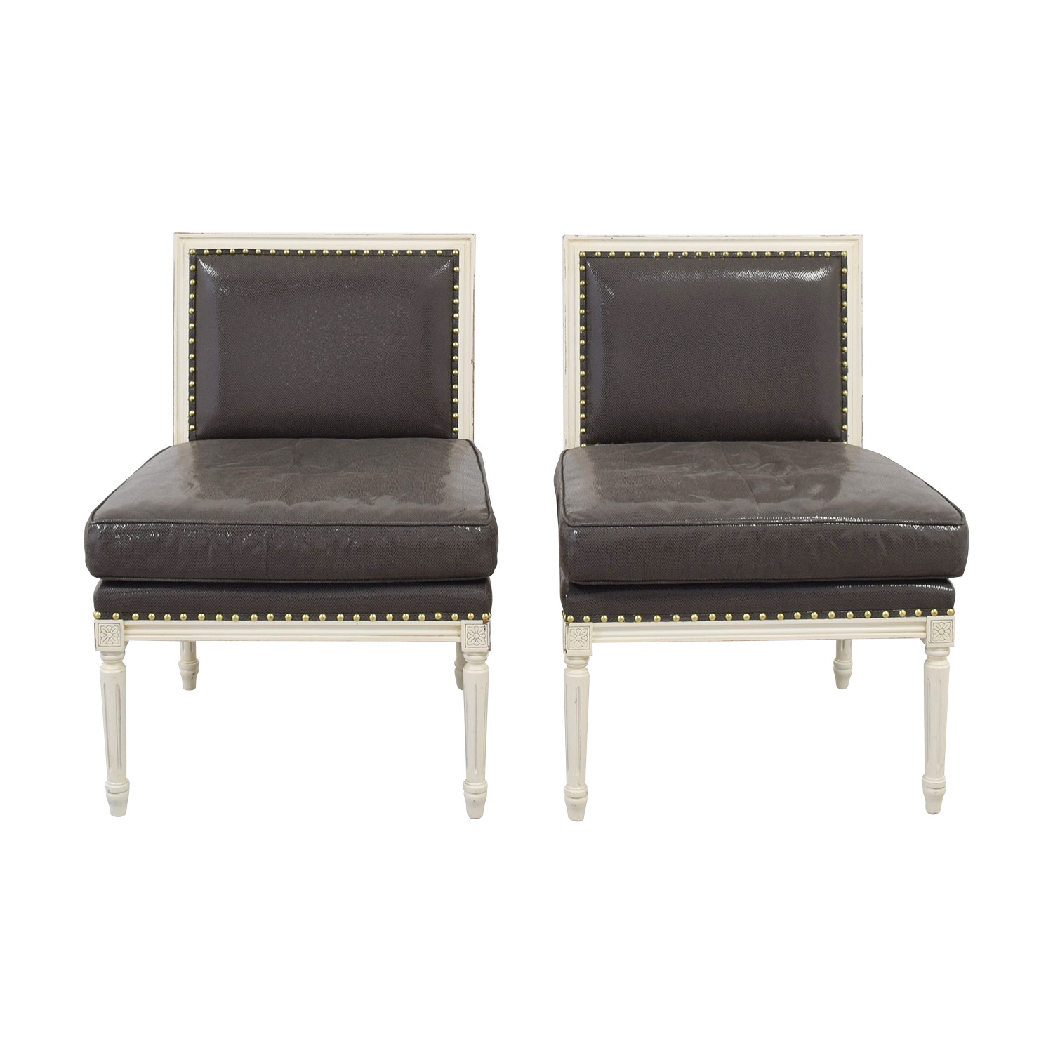 White and Grey Embossed Snakeskin Nailhead  Accent Chairs sale
