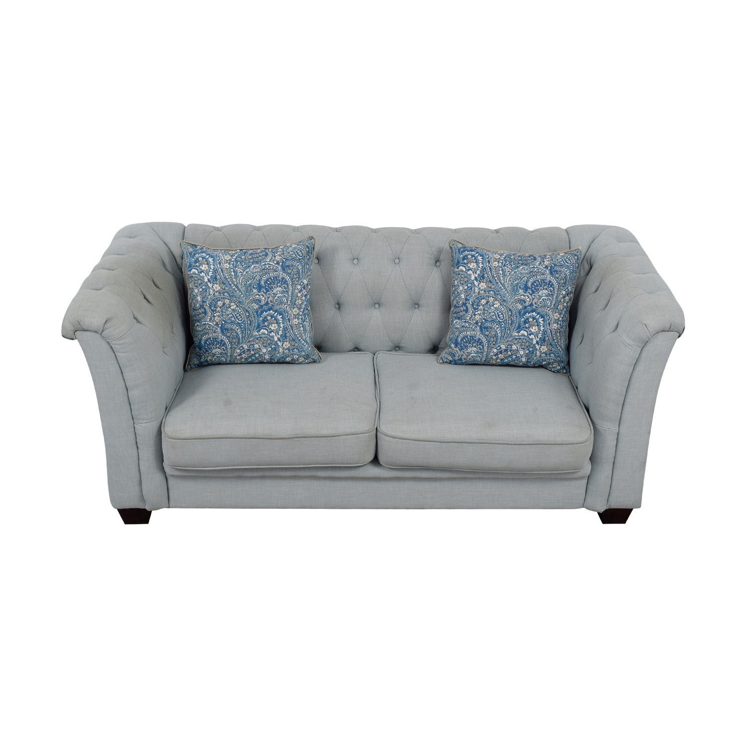 Delvi Furniture Delvi Furniture Sky Blue Tufted Two-Cushion Sofa nyc