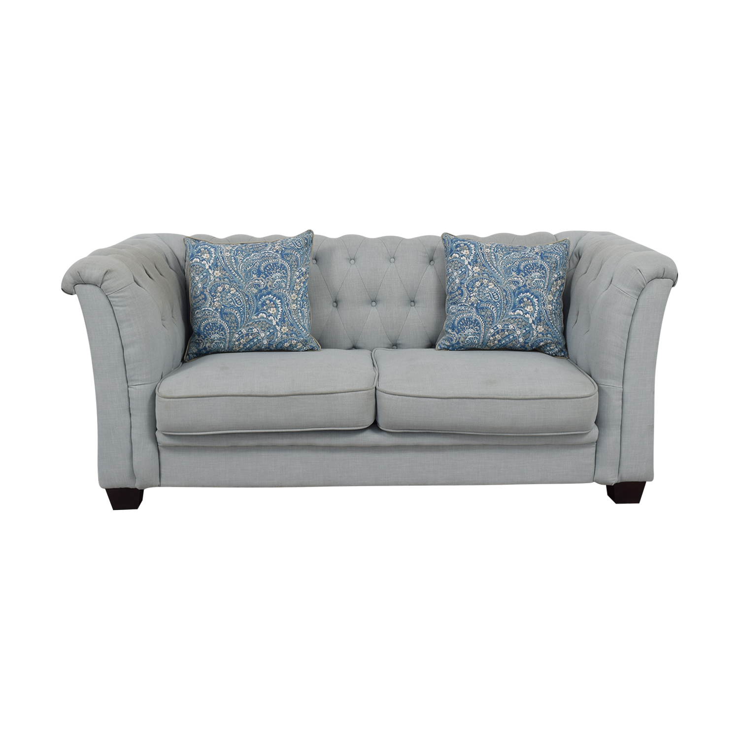 Delvi Furniture Sky Blue Tufted Two-Cushion Sofa / Sofas