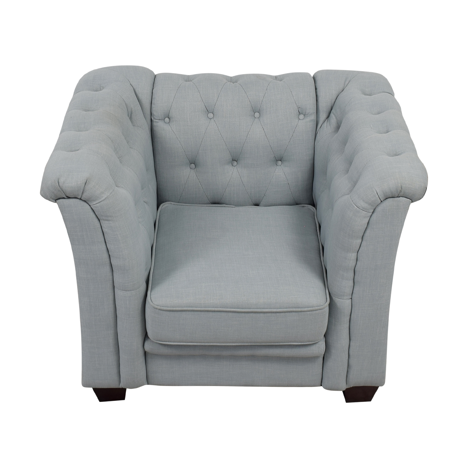 shop Delvi Furniture Sky Blue Tufted Accent Chair Delvi Furniture Chairs